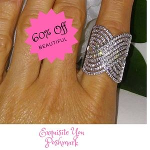 Coctail Ring Pave White Sapphires Ring 925 Silver